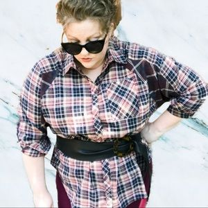 BAILEY Plus Size Oversized Two Plaid Button Down